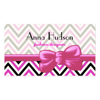 Zigzag (Chevron), Stripes - Black Pink White Double-Sided Standard Business Cards (Pack Of 100)