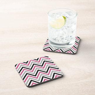 Zigzag (Chevron), Stripes - Gray Black Pink White Drink Coaster