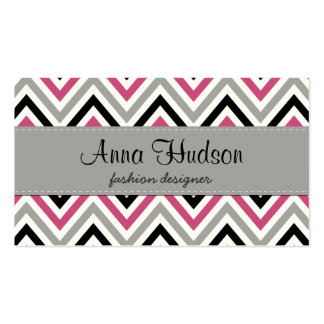 Zigzag (Chevron), Stripes - Gray Black Pink White Double-Sided Standard Business Cards (Pack Of 100)