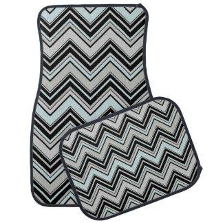 Zigzag (Chevron), Stripes, Lines - Black Blue Gray Floor Mat