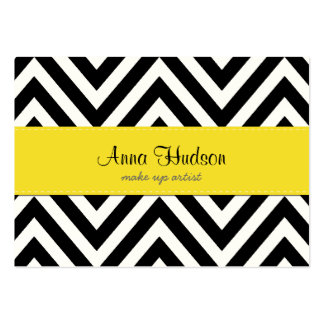 Zigzag (Chevron), Stripes, Lines - Black Yellow Large Business Cards (Pack Of 100)