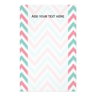 Zigzag (Chevron), Stripes, Lines - Blue Pink White Personalized Stationery