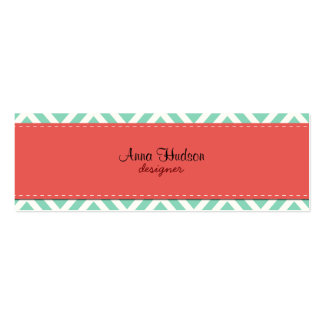 Zigzag (Chevron), Stripes, Lines - Blue Red Double-Sided Mini Business Cards (Pack Of 20)