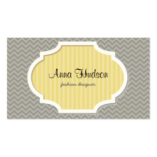 Zigzag (Chevron), Stripes, Lines - Gray Double-Sided Standard Business Cards (Pack Of 100)