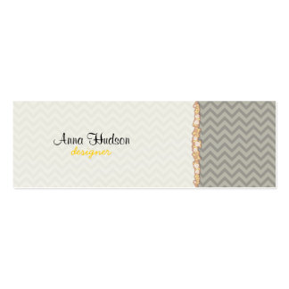 Zigzag (Chevron), Stripes, Lines - Gray Double-Sided Mini Business Cards (Pack Of 20)