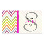 Zigzag (Chevron), Stripes, Lines - Green Blue Pink Business Card Template