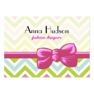 Zigzag (Chevron), Stripes, Lines - Green Pink Blue Large Business Cards (Pack Of 100)