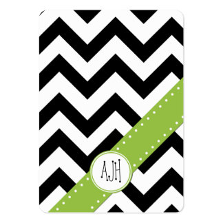 Zigzag (Chevron), Stripes, Lines - White Black Large Business Cards (Pack Of 100)