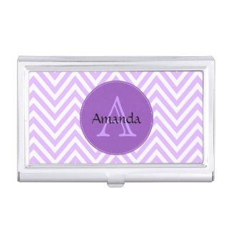 Zigzag (Chevron), Stripes, Lines - White Purple Case For Business Cards