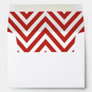 Zigzag (Chevron), Stripes, Lines - White Red Envelope
