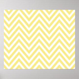 Zigzag (Chevron), Stripes, Lines - White Yellow Poster