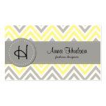 Zigzag (Chevron), Stripes - White Yellow Gray Business Cards