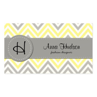 Zigzag (Chevron), Stripes - White Yellow Gray Double-Sided Standard Business Cards (Pack Of 100)