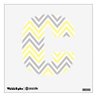 Zigzag (Chevron), Stripes - White Yellow Gray Wall Skin