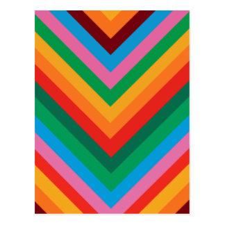 Zigzag colorido Chevron del arco iris Postales