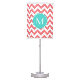 Zigzag Coral and Aqua Custom Monogram Desk Lamp