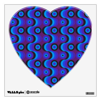 Zigzag curved lines and circles blue purple wall decal