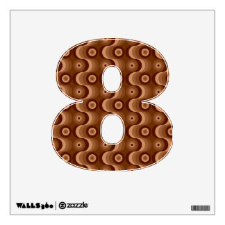 Zigzag curved lines and circles shades of brown wall decal
