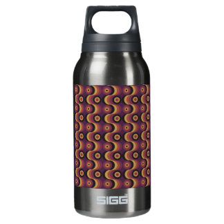 Zigzag curved lines circles fuchsia amber 1970s insulated water bottle