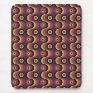 Zigzag curved lines circles fuchsia amber 1970s mouse pad