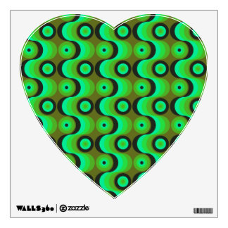 Zigzag curved lines circles green 1970s wall sticker