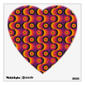 Zigzag curved lines circles purple yellow 1970s wall decal