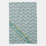 Zigzag de la hoja de plata y del trullo toallas de cocina