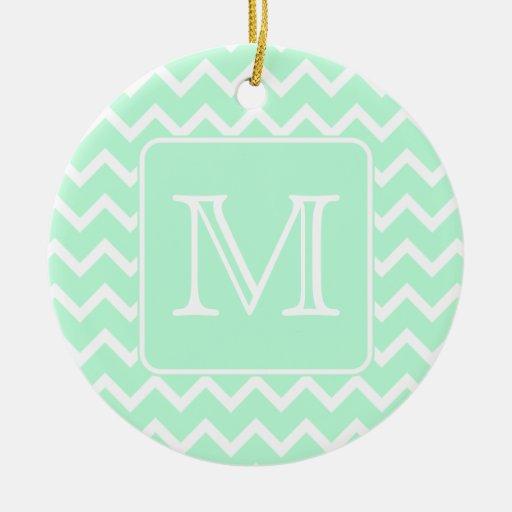 Zigzag de la verde menta con el monograma de ornamento para reyes magos