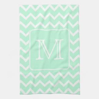 Zigzag de la verde menta con el monograma de encar toallas de cocina