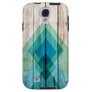 Zigzag de madera de Chevron de la caja de la galax Funda Para Galaxy S4