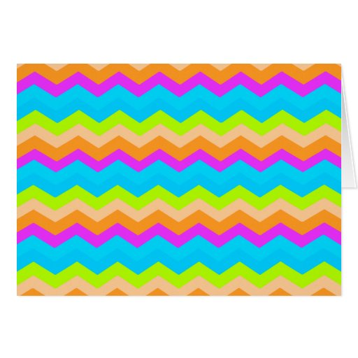 Zigzag de neón del arco iris tarjetas