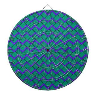 Zigzag de papel verde y púrpura tablero de dardos