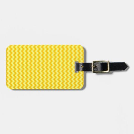 Zigzag de par en par - amarillo y amarillo de la m etiquetas para equipaje