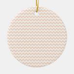 Zigzag de par en par - blanco y albaricoque ornamento de navidad