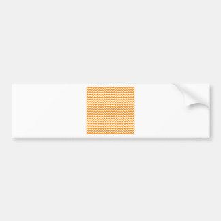 Zigzag de par en par - blanco y anaranjado oscuro pegatina de parachoque