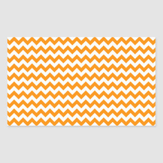 Zigzag de par en par - blanco y anaranjado oscuro pegatina rectangular