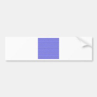 Zigzag de par en par - blanco y azul etiqueta de parachoque