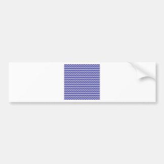 Zigzag de par en par - blanco y azul marino pegatina de parachoque