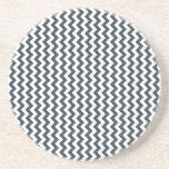 Zigzag de par en par - blanco y carbón de leña posavasos personalizados