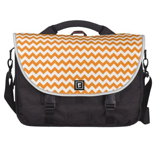 Zigzag de par en par - blanco y naranja bolsa para ordenador