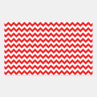 Zigzag de par en par - blanco y rojo pegatina rectangular