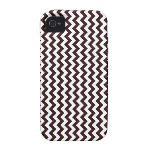 Zigzag de par en par - blanco y sello Brown Case-Mate iPhone 4 Funda
