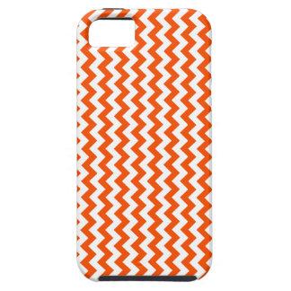 Zigzag de par en par - blanco y Tangelo iPhone 5 Case-Mate Protector