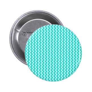 Zigzag de par en par - Celeste y turquesa Pin Redondo De 2 Pulgadas