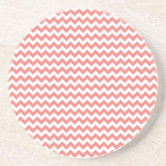 Zigzag de par en par - rosa blanco y del coral posavaso para bebida
