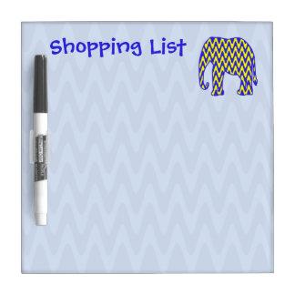 Zigzag del elefante de la lista de compras tablero blanco