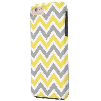 Zigzag del modelo de Chevron gris y amarillo Funda Para iPhone 6 Plus Tough