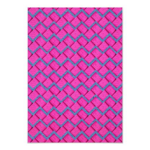 Zigzag del papel rosado y azul invitación 8,9 x 12,7 cm