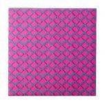 Zigzag del papel rosado y azul teja  ceramica