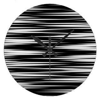 Zigzag dentado blanco y negro reloj redondo grande